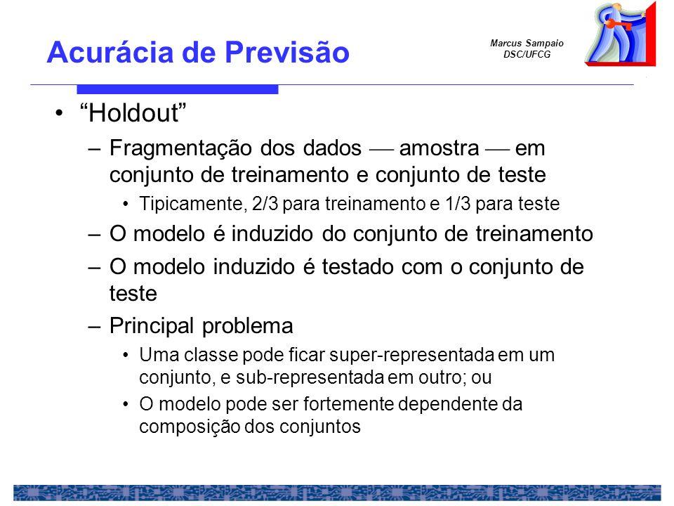 Marcus Sampaio DSC/UFCG Holdout –Fragmentação dos dados amostra em conjunto de treinamento e conjunto de teste Tipicamente, 2/3 para treinamento e 1/3