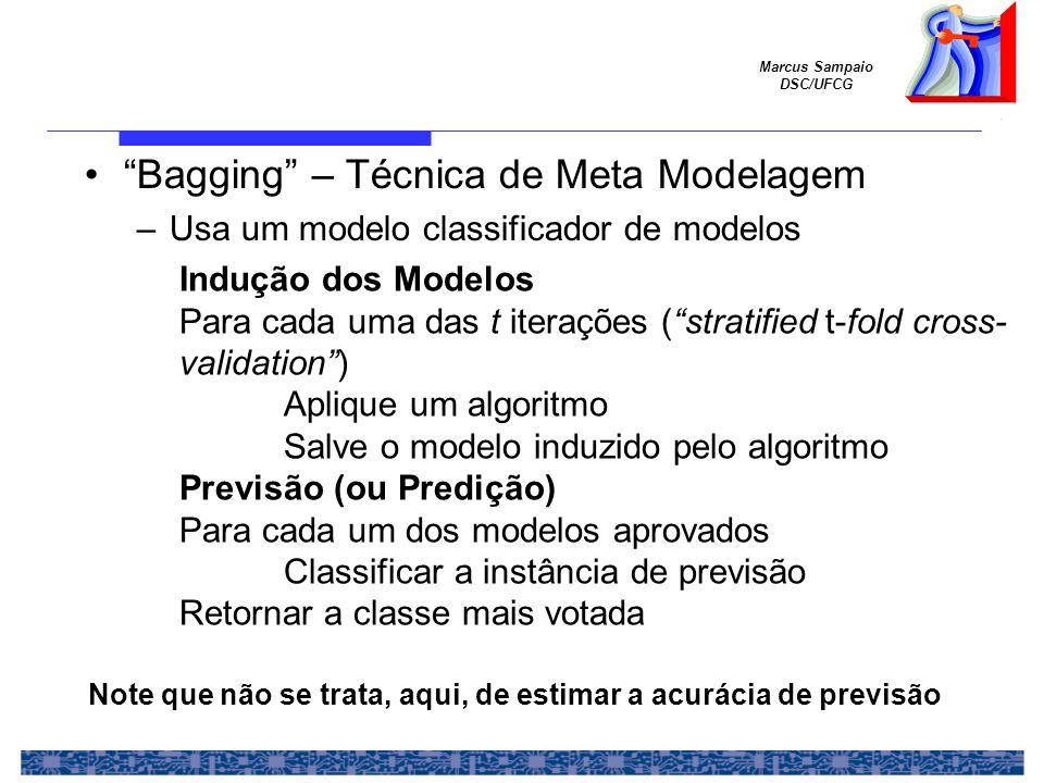 Marcus Sampaio DSC/UFCG Bagging – Técnica de Meta Modelagem –Usa um modelo classificador de modelos Indução dos Modelos Para cada uma das t iterações