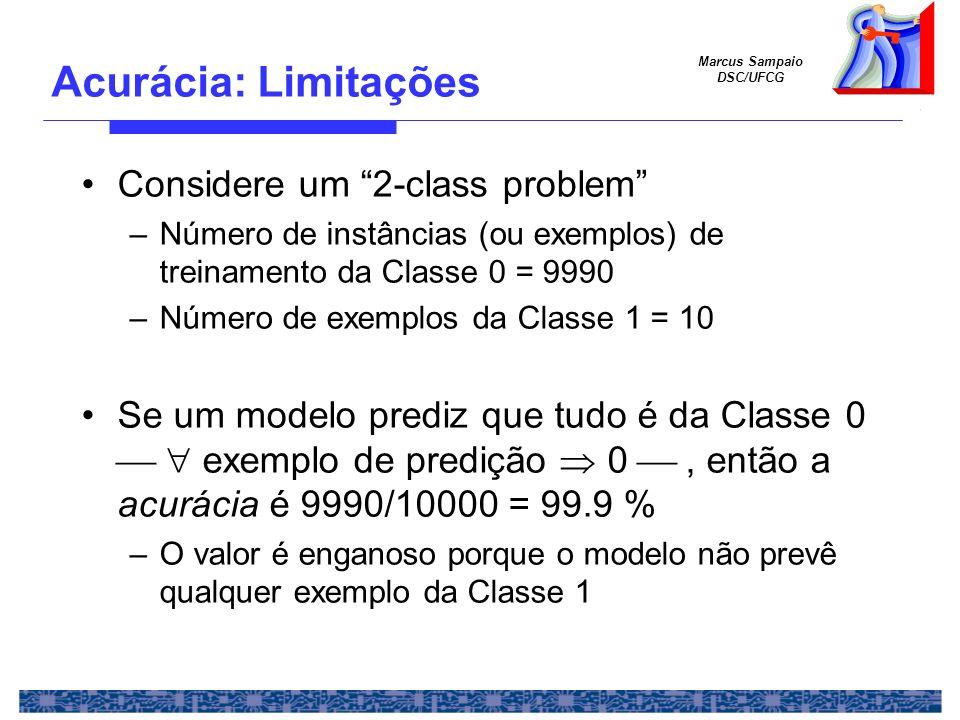 Marcus Sampaio DSC/UFCG Considere um 2-class problem –Número de instâncias (ou exemplos) de treinamento da Classe 0 = 9990 –Número de exemplos da Clas