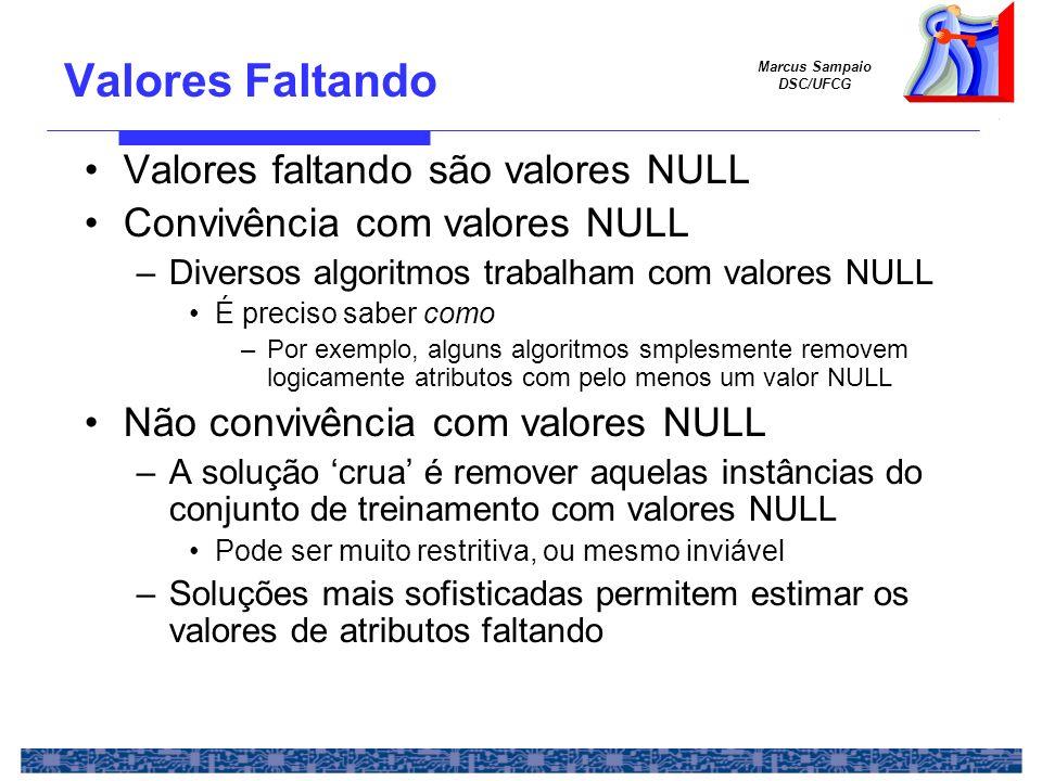 Marcus Sampaio DSC/UFCG Valores faltando são valores NULL Convivência com valores NULL –Diversos algoritmos trabalham com valores NULL É preciso saber