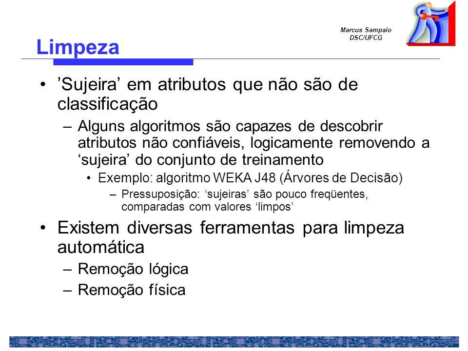 Marcus Sampaio DSC/UFCG Sujeira em atributos que não são de classificação –Alguns algoritmos são capazes de descobrir atributos não confiáveis, logica