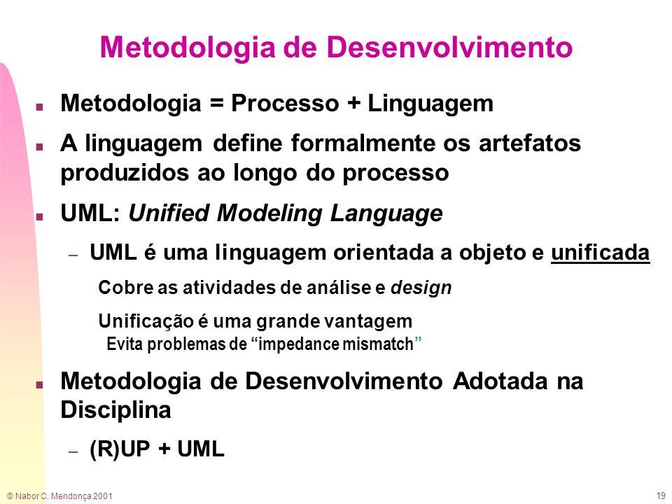 © Nabor C. Mendonça 2001 19 Metodologia de Desenvolvimento n Metodologia = Processo + Linguagem n A linguagem define formalmente os artefatos produzid