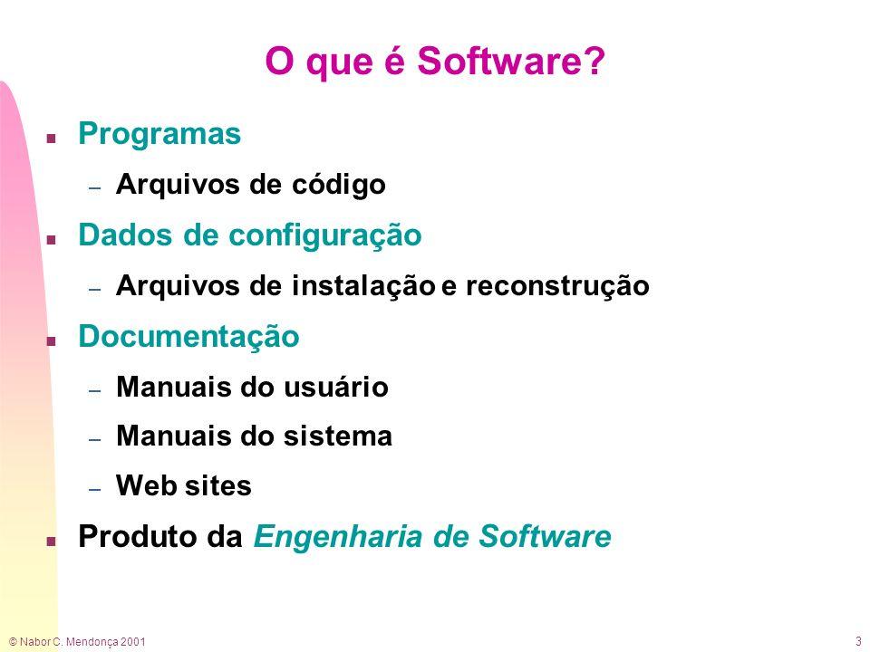 © Nabor C.Mendonça 2001 4 O que é Engenharia de Software.