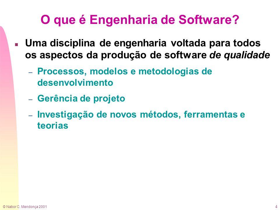 © Nabor C.Mendonça 2001 5 O que é Engenharia de Software.