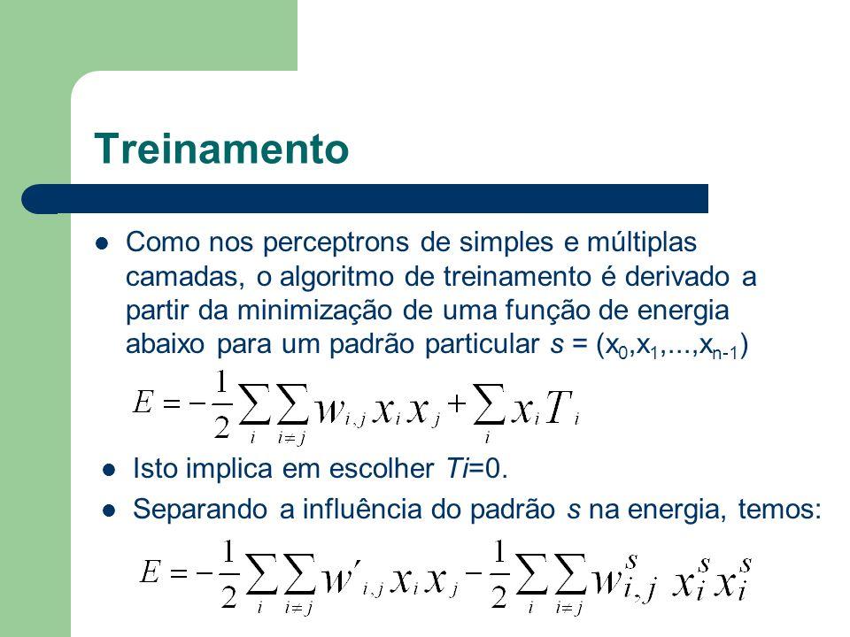 Treinamento Como nos perceptrons de simples e múltiplas camadas, o algoritmo de treinamento é derivado a partir da minimização de uma função de energia abaixo para um padrão particular s = (x 0,x 1,...,x n-1 ) Isto implica em escolher Ti=0.