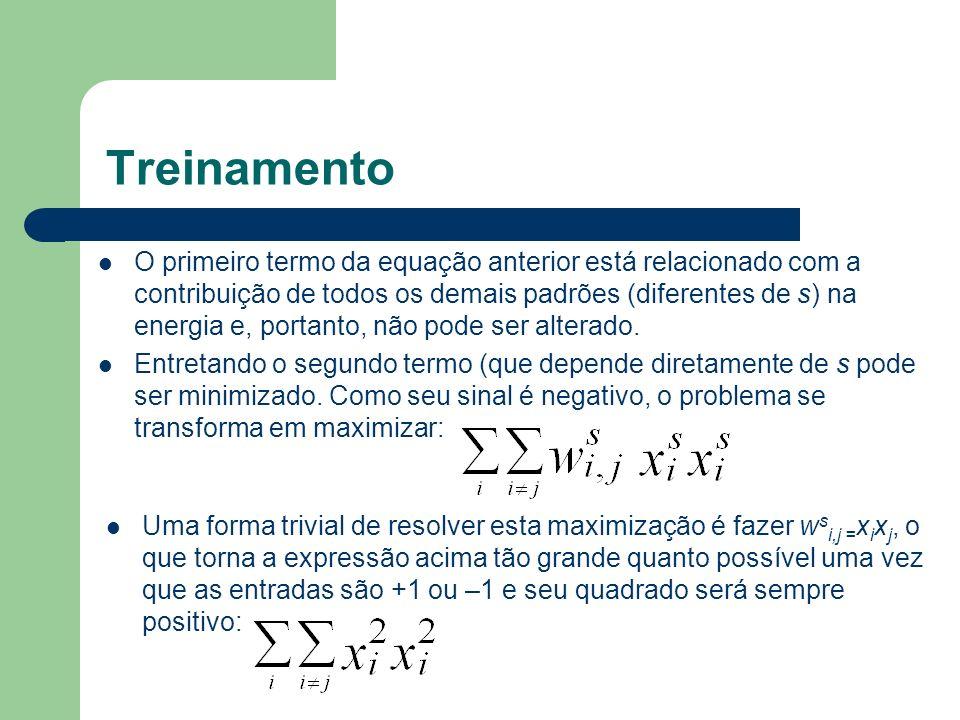 Treinamento O primeiro termo da equação anterior está relacionado com a contribuição de todos os demais padrões (diferentes de s) na energia e, portanto, não pode ser alterado.