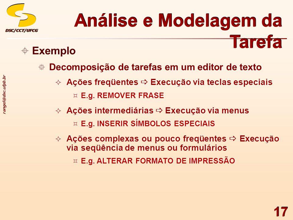 rangel@dsc.ufpb.br DSC/CCT/UFCGDSC/CCT/UFCG 17 Exemplo Decomposição de tarefas em um editor de texto Ações freqüentes Execução via teclas especiais E.