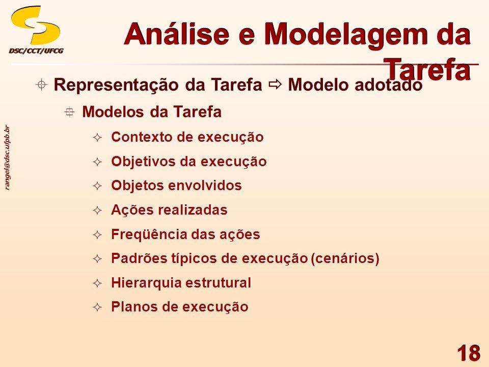 rangel@dsc.ufpb.br DSC/CCT/UFCGDSC/CCT/UFCG 18 Representação da Tarefa Modelo adotado Modelos da Tarefa Contexto de execução Objetivos da execução Obj