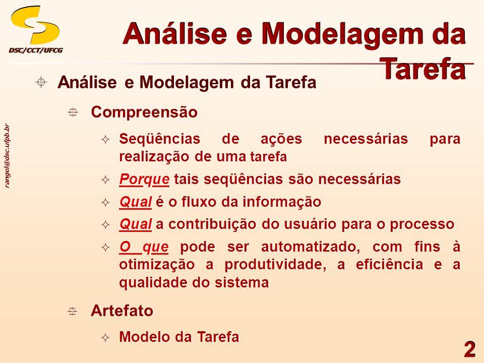 rangel@dsc.ufpb.br DSC/CCT/UFCGDSC/CCT/UFCG 2 Análise e Modelagem da Tarefa Compreensão Seqüências de ações necessárias para realização de uma tarefa