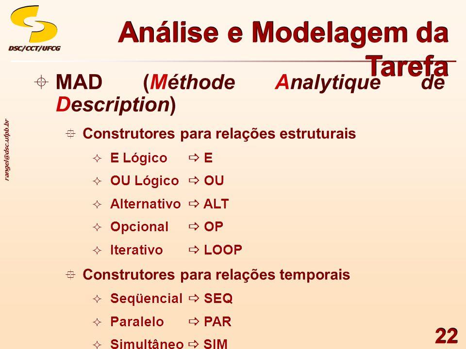 rangel@dsc.ufpb.br DSC/CCT/UFCGDSC/CCT/UFCG 22 MAD (Méthode Analytique de Description) Construtores para relações estruturais E Lógico E OU Lógico OU