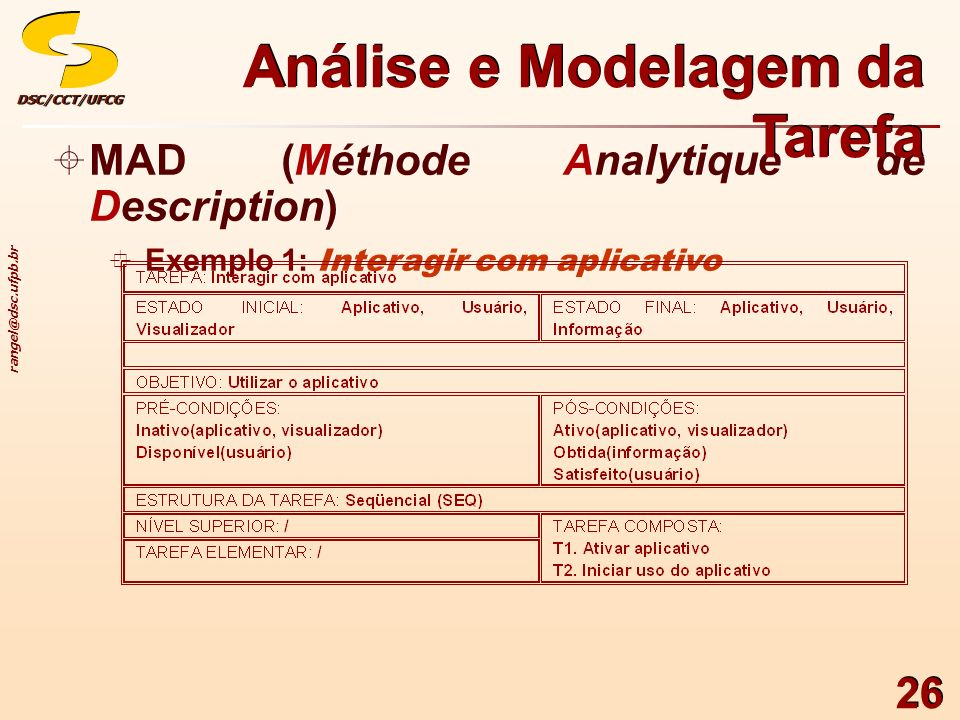 rangel@dsc.ufpb.br DSC/CCT/UFCGDSC/CCT/UFCG 26 MAD (Méthode Analytique de Description) Exemplo 1: Interagir com aplicativo MAD (Méthode Analytique de