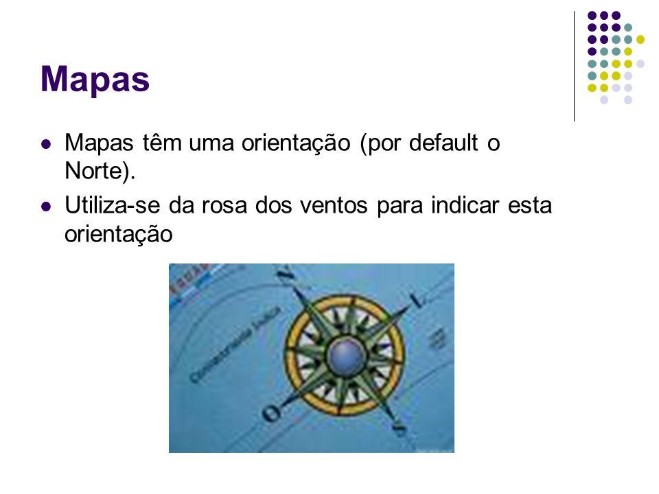 Mapas Mapas têm uma orientação (por default o Norte). Utiliza-se da rosa dos ventos para indicar esta orientação