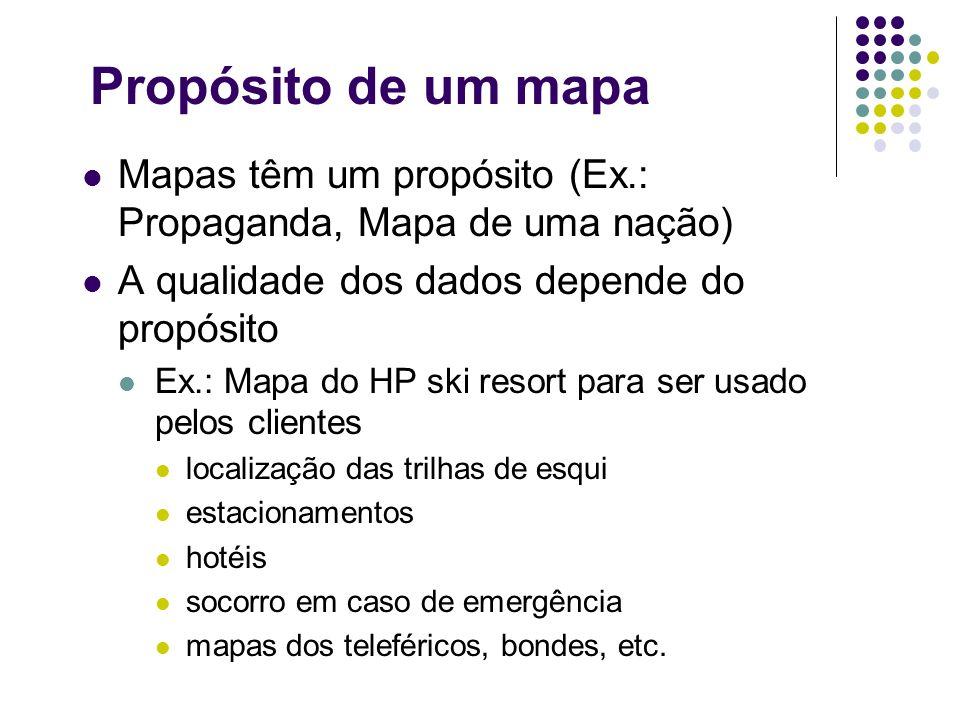 Propósito de um mapa Mapas têm um propósito (Ex.: Propaganda, Mapa de uma nação) A qualidade dos dados depende do propósito Ex.: Mapa do HP ski resort
