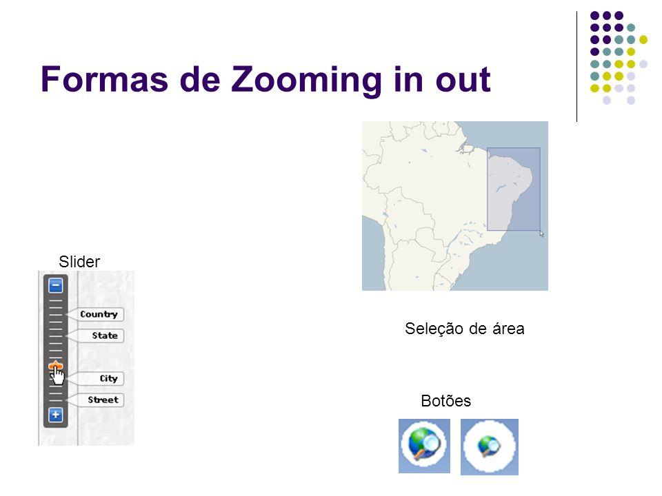 Formas de Zooming in out Slider Seleção de área Botões