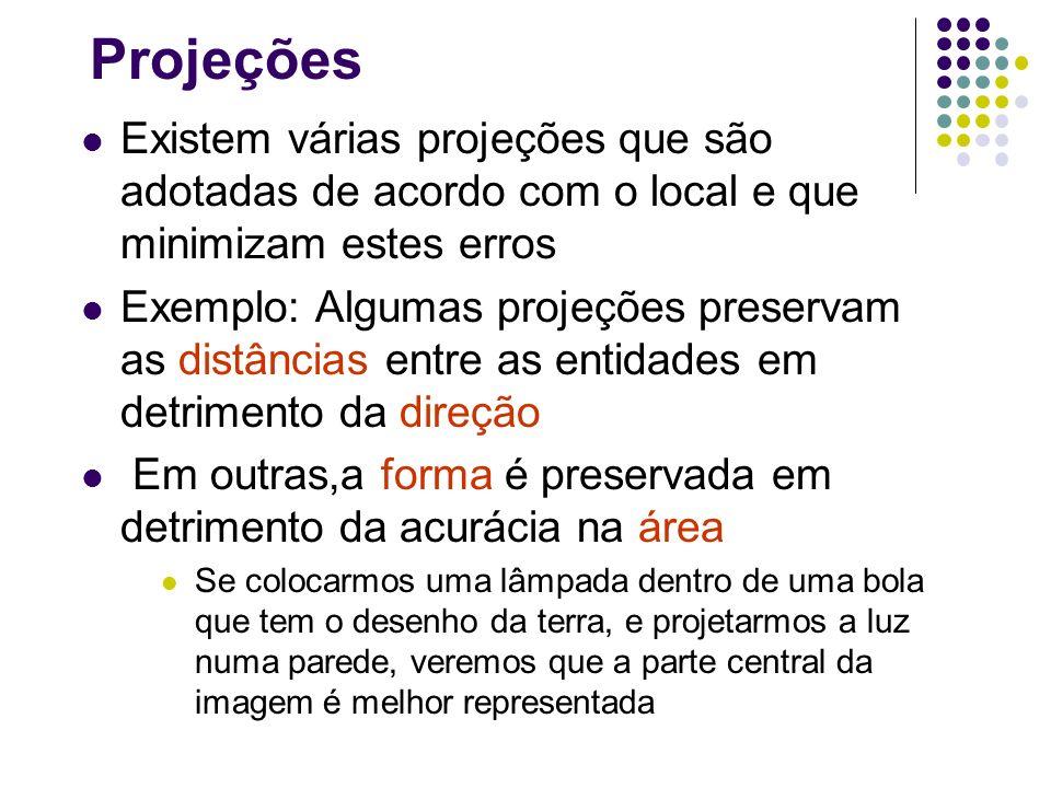 Projeções Existem várias projeções que são adotadas de acordo com o local e que minimizam estes erros Exemplo: Algumas projeções preservam as distânci