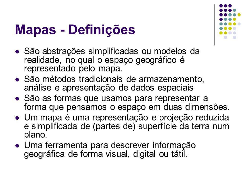 Mapas - Definições São abstrações simplificadas ou modelos da realidade, no qual o espaço geográfico é representado pelo mapa. São métodos tradicionai