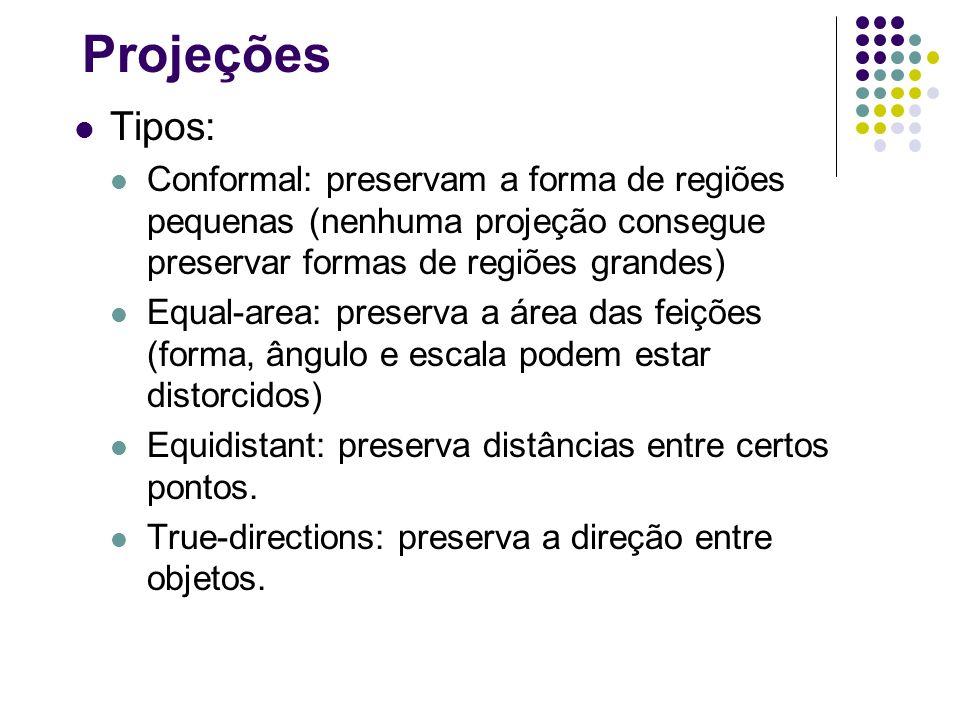 Projeções Tipos: Conformal: preservam a forma de regiões pequenas (nenhuma projeção consegue preservar formas de regiões grandes) Equal-area: preserva