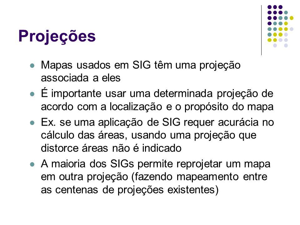 Projeções Mapas usados em SIG têm uma projeção associada a eles É importante usar uma determinada projeção de acordo com a localização e o propósito d