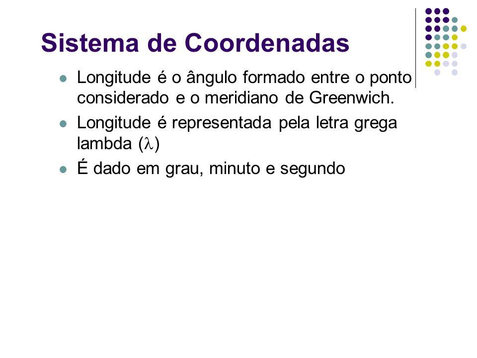 Sistema de Coordenadas Longitude é o ângulo formado entre o ponto considerado e o meridiano de Greenwich. Longitude é representada pela letra grega la