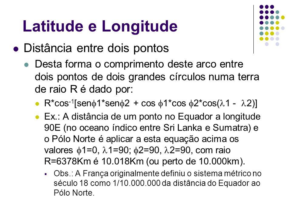 Latitude e Longitude Distância entre dois pontos Desta forma o comprimento deste arco entre dois pontos de dois grandes círculos numa terra de raio R