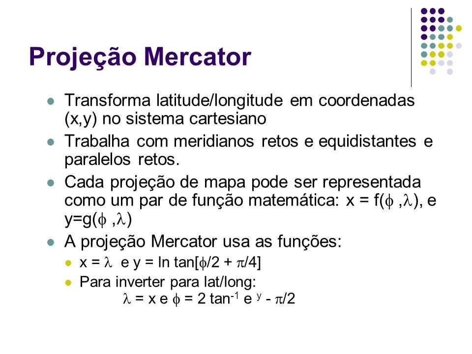 Projeção Mercator Transforma latitude/longitude em coordenadas (x,y) no sistema cartesiano Trabalha com meridianos retos e equidistantes e paralelos r