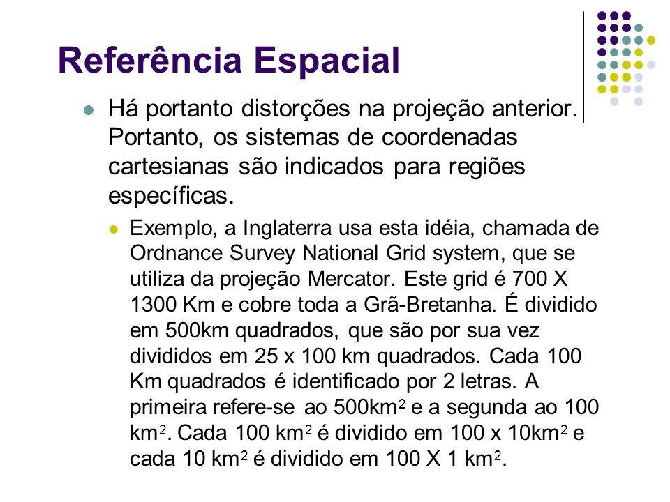 Referência Espacial Há portanto distorções na projeção anterior. Portanto, os sistemas de coordenadas cartesianas são indicados para regiões específic