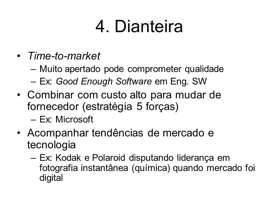 4. Dianteira Time-to-market –Muito apertado pode comprometer qualidade –Ex: Good Enough Software em Eng. SW Combinar com custo alto para mudar de forn