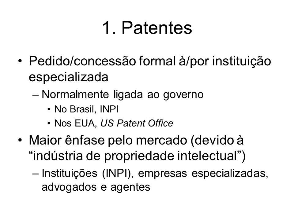 1. Patentes Pedido/concessão formal à/por instituição especializada –Normalmente ligada ao governo No Brasil, INPI Nos EUA, US Patent Office Maior ênf