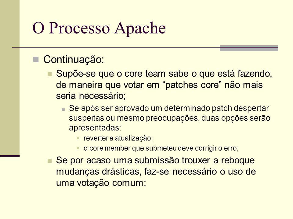 O Processo Apache Continuação: Supõe-se que o core team sabe o que está fazendo, de maneira que votar em patches core não mais seria necessário; Se após ser aprovado um determinado patch despertar suspeitas ou mesmo preocupações, duas opções serão apresentadas: reverter a atualização; o core member que submeteu deve corrigir o erro; Se por acaso uma submissão trouxer a reboque mudanças drásticas, faz-se necessário o uso de uma votação comum;