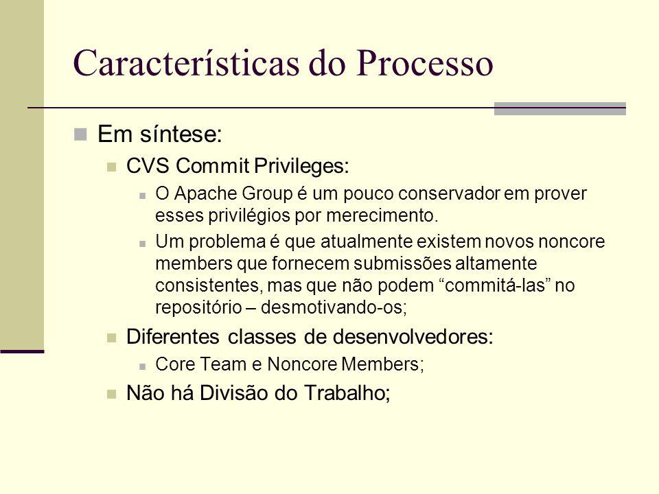 Características do Processo Em síntese: CVS Commit Privileges: O Apache Group é um pouco conservador em prover esses privilégios por merecimento. Um p