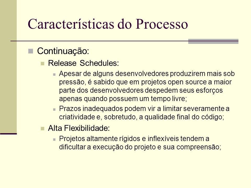 Características do Processo Continuação: Release Schedules: Apesar de alguns desenvolvedores produzirem mais sob pressão, é sabido que em projetos open source a maior parte dos desenvolvedores despedem seus esforços apenas quando possuem um tempo livre; Prazos inadequados podem vir a limitar severamente a criatividade e, sobretudo, a qualidade final do código; Alta Flexibilidade: Projetos altamente rígidos e inflexíveis tendem a dificultar a execução do projeto e sua compreensão;