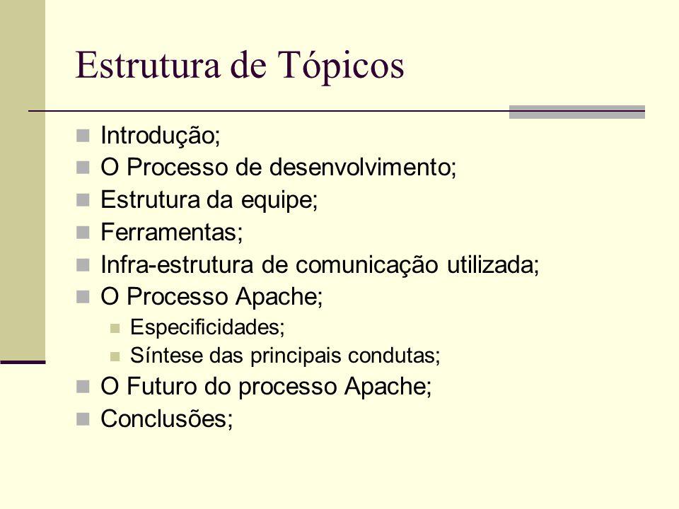 Estrutura de Tópicos Introdução; O Processo de desenvolvimento; Estrutura da equipe; Ferramentas; Infra-estrutura de comunicação utilizada; O Processo Apache; Especificidades; Síntese das principais condutas; O Futuro do processo Apache; Conclusões;