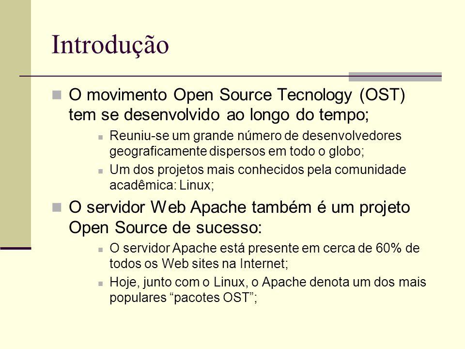 Introdução O movimento Open Source Tecnology (OST) tem se desenvolvido ao longo do tempo; Reuniu-se um grande número de desenvolvedores geograficamente dispersos em todo o globo; Um dos projetos mais conhecidos pela comunidade acadêmica: Linux; O servidor Web Apache também é um projeto Open Source de sucesso: O servidor Apache está presente em cerca de 60% de todos os Web sites na Internet; Hoje, junto com o Linux, o Apache denota um dos mais populares pacotes OST;