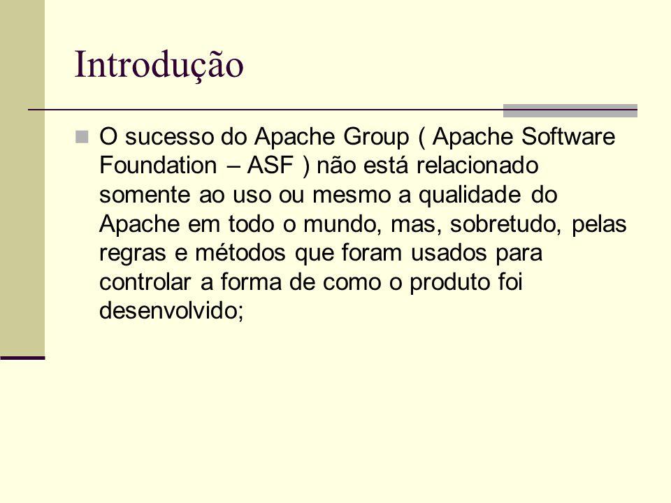 Introdução O sucesso do Apache Group ( Apache Software Foundation – ASF ) não está relacionado somente ao uso ou mesmo a qualidade do Apache em todo o