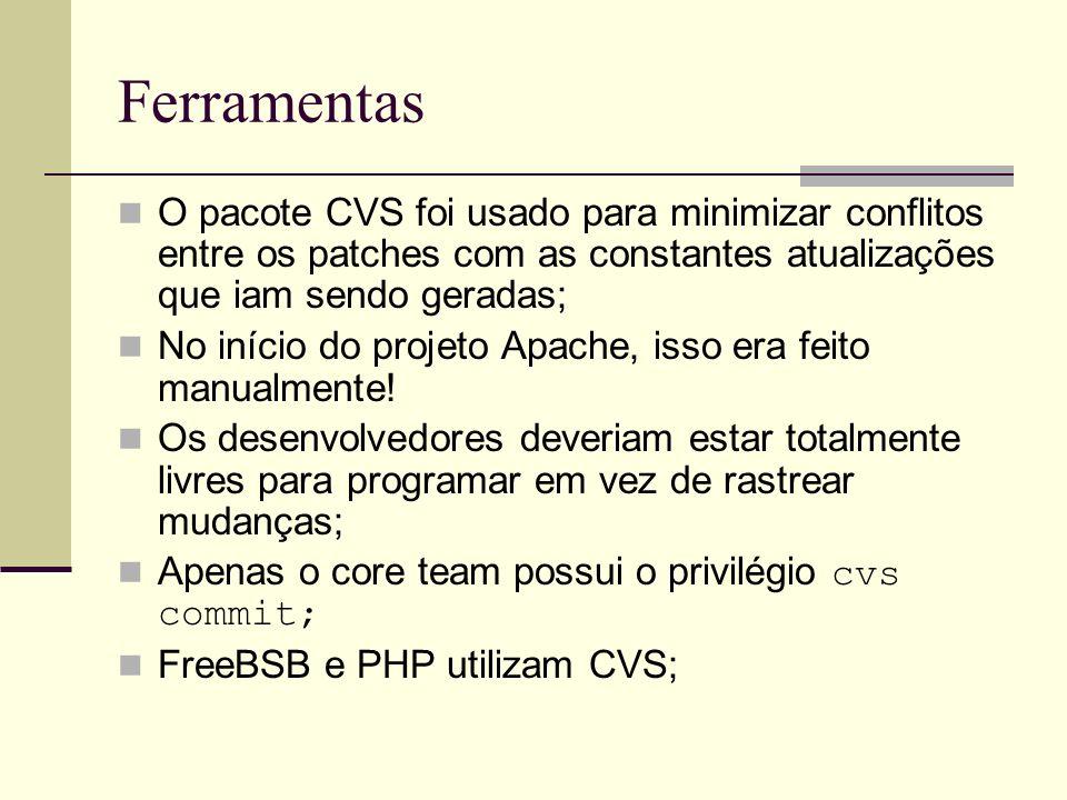 Ferramentas O pacote CVS foi usado para minimizar conflitos entre os patches com as constantes atualizações que iam sendo geradas; No início do projeto Apache, isso era feito manualmente.