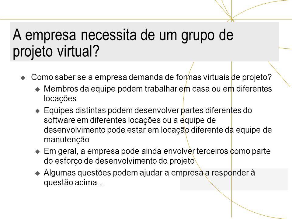 A empresa necessita de um grupo de projeto virtual? Como saber se a empresa demanda de formas virtuais de projeto? u Membros da equipe podem trabalhar