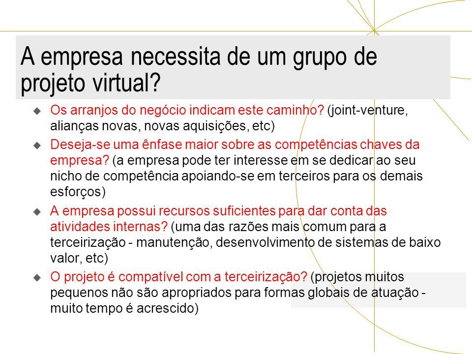 A empresa necessita de um grupo de projeto virtual? Os arranjos do negócio indicam este caminho? (joint-venture, alianças novas, novas aquisições, etc