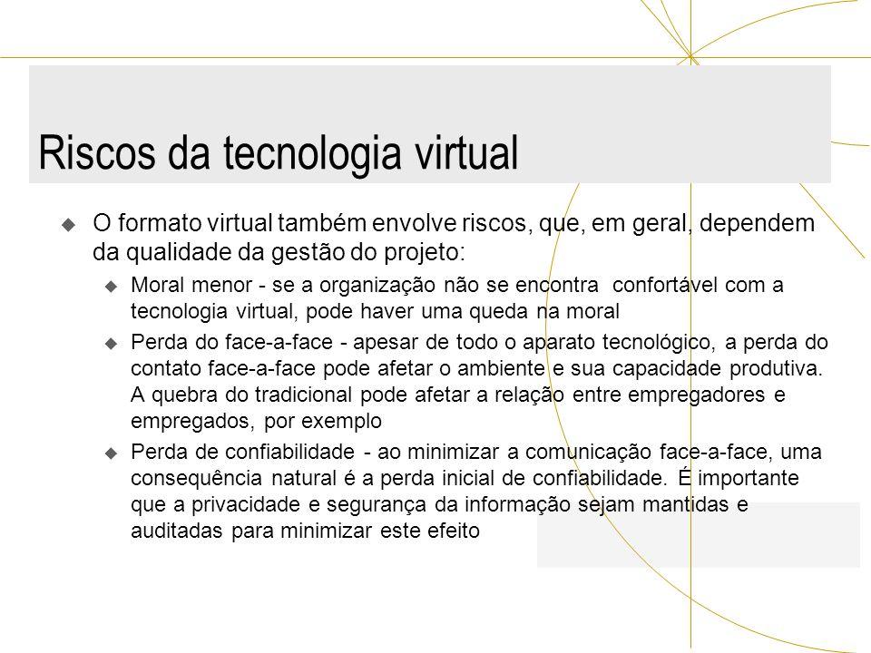 Riscos da tecnologia virtual O formato virtual também envolve riscos, que, em geral, dependem da qualidade da gestão do projeto: u Moral menor - se a