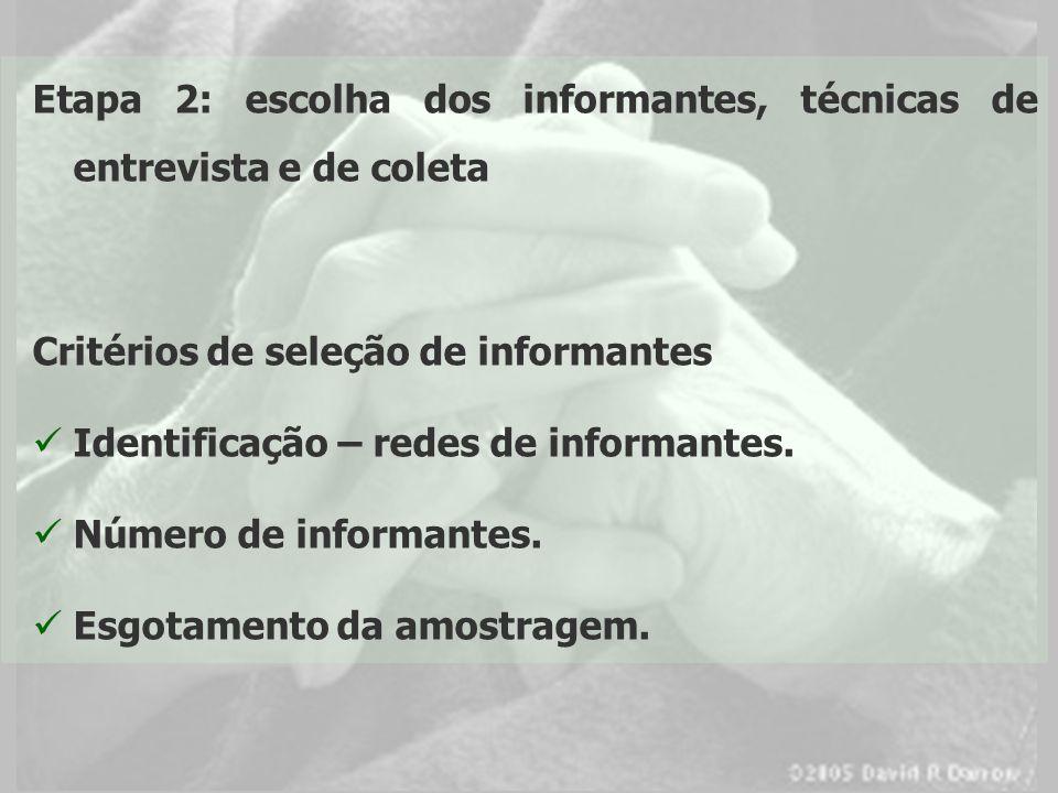 Etapa 2: escolha dos informantes, técnicas de entrevista e de coleta Critérios de seleção de informantes Identificação – redes de informantes. Número