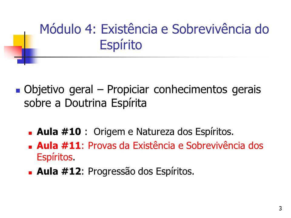 Módulo 4: Existência e Sobrevivência do Espírito 3 Objetivo geral – Propiciar conhecimentos gerais sobre a Doutrina Espírita Aula #10 : Origem e Natur