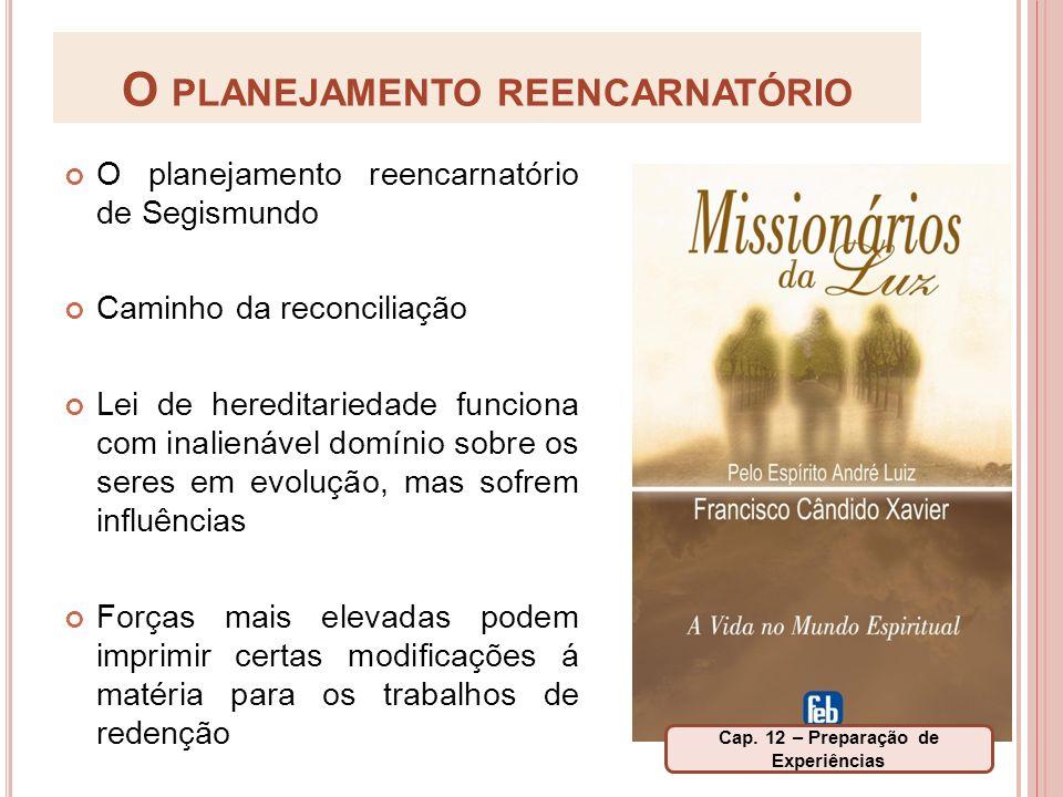 O PLANEJAMENTO REENCARNATÓRIO O planejamento reencarnatório de Segismundo Caminho da reconciliação Lei de hereditariedade funciona com inalienável dom