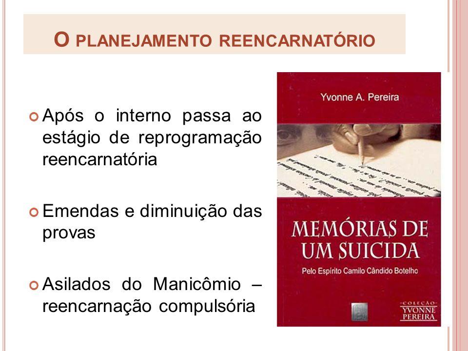 O PLANEJAMENTO REENCARNATÓRIO Após o interno passa ao estágio de reprogramação reencarnatória Emendas e diminuição das provas Asilados do Manicômio –