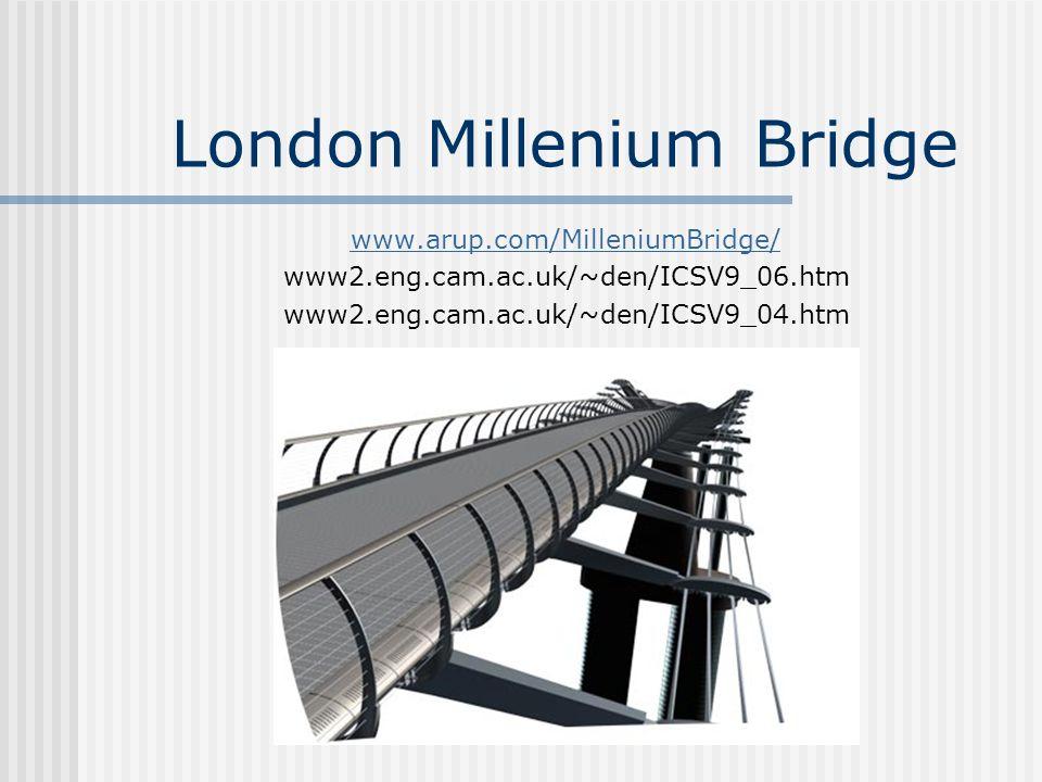 London Millenium Bridge www.arup.com/MilleniumBridge/ www2.eng.cam.ac.uk/~den/ICSV9_06.htm www2.eng.cam.ac.uk/~den/ICSV9_04.htm