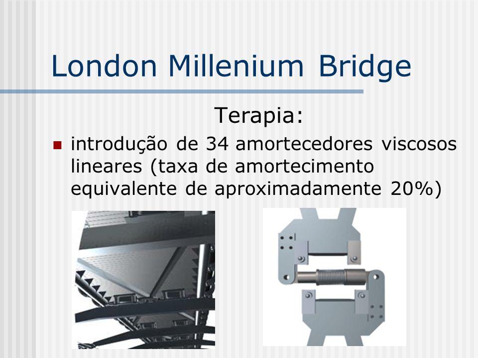 Terapia: introdução de 34 amortecedores viscosos lineares (taxa de amortecimento equivalente de aproximadamente 20%) London Millenium Bridge