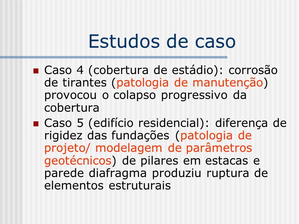 Estudos de caso Caso 4 (cobertura de estádio): corrosão de tirantes (patologia de manutenção) provocou o colapso progressivo da cobertura Caso 5 (edif