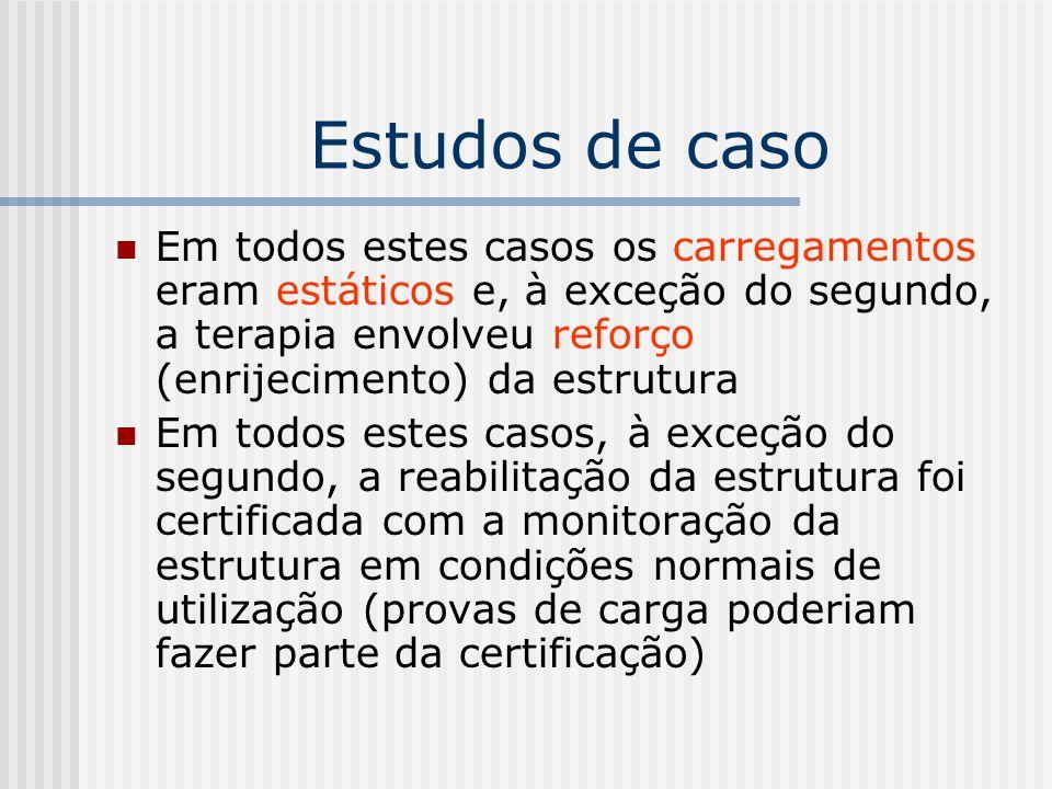 Estudos de caso Em todos estes casos os carregamentos eram estáticos e, à exceção do segundo, a terapia envolveu reforço (enrijecimento) da estrutura