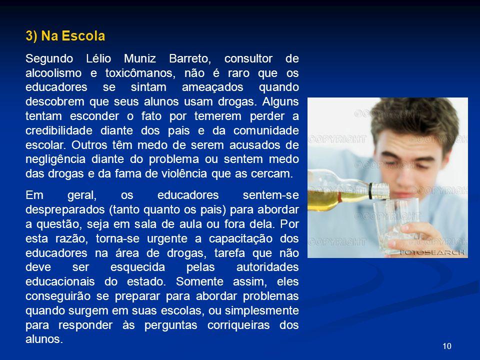 10 3) Na Escola Segundo Lélio Muniz Barreto, consultor de alcoolismo e toxicômanos, não é raro que os educadores se sintam ameaçados quando descobrem