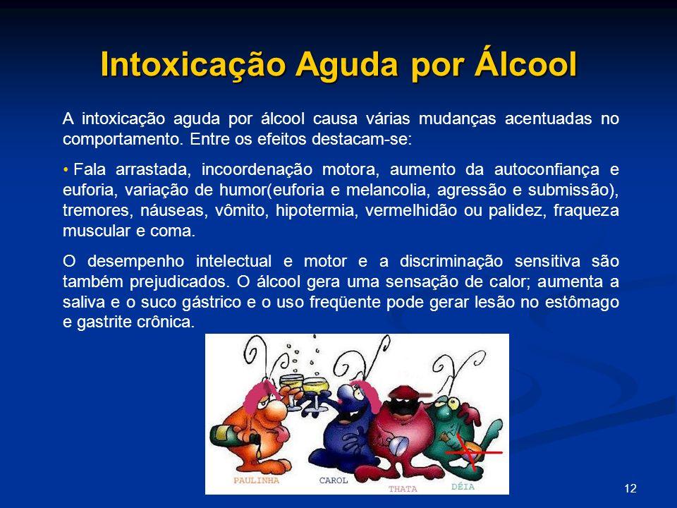 12 Intoxicação Aguda por Álcool A intoxicação aguda por álcool causa várias mudanças acentuadas no comportamento. Entre os efeitos destacam-se: Fala a