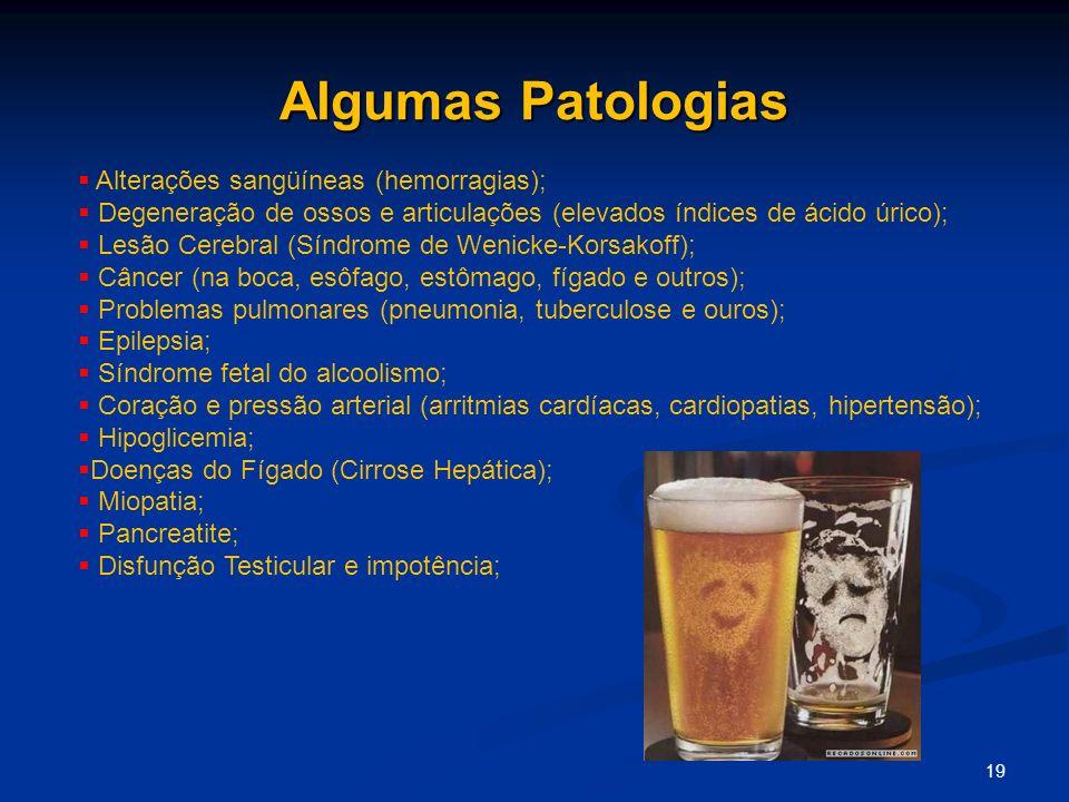 Algumas Patologias 19 Alterações sangüíneas (hemorragias); Degeneração de ossos e articulações (elevados índices de ácido úrico); Lesão Cerebral (Sínd