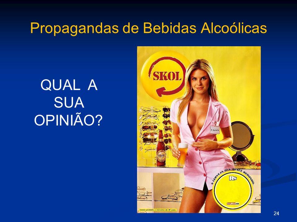 Propagandas de Bebidas Alcoólicas 24 QUAL A SUA OPINIÃO?
